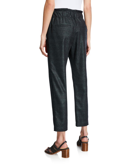 Brunello Cucinelli High-Rise Shimmer Plaid Cropped Pants