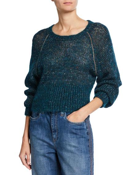 Brunello Cucinelli Monili-Beaded Mohair-Alpaca Crop Sweater