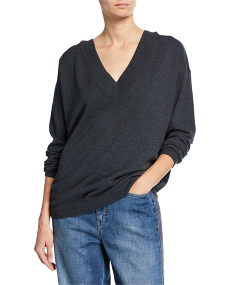 Image 2 of 3: Brunello Cucinelli Cashmere V-Neck Sweater with Monili Necklace