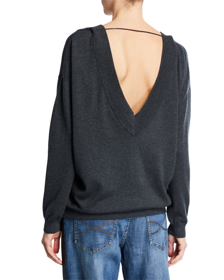 Image 3 of 3: Brunello Cucinelli Cashmere V-Neck Sweater with Monili Necklace