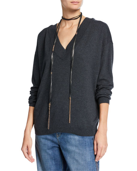Image 1 of 3: Brunello Cucinelli Cashmere V-Neck Sweater with Monili Necklace