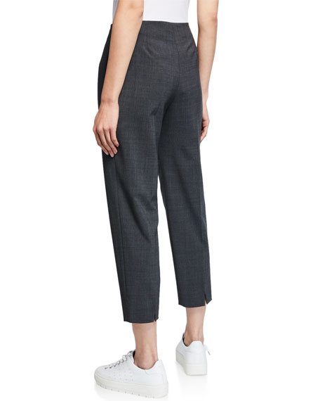 Piazza Sempione Audrey Straight-Leg Stretch-Wool Cropped Pants, Gray