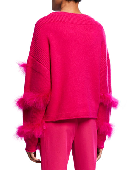 Sally LaPointe Cashmere-Silk Feather-Wrapped Sweater