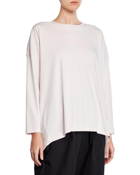 Eskandar Long-Sleeve Basic High-Low T-Shirt