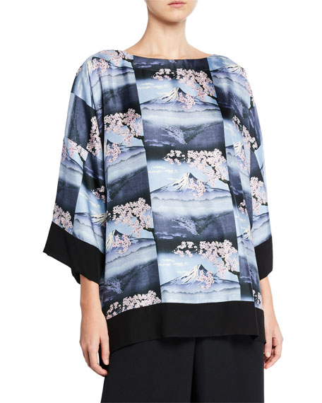 Eskandar Mount-Fuji Print Silk Tunic