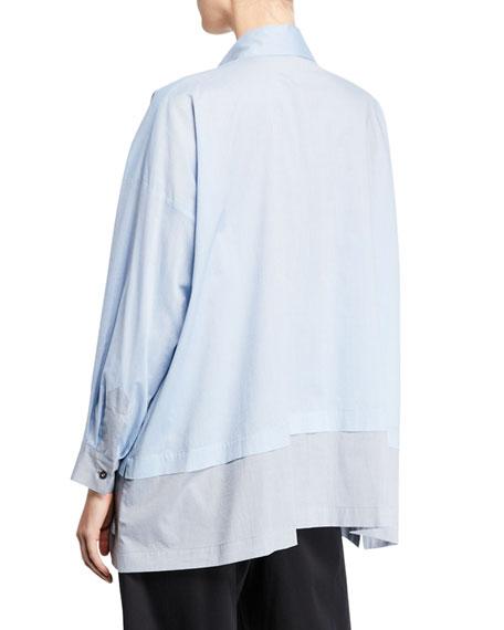 Eskandar Lightweight-Melange Shirting Button-Front Shirt