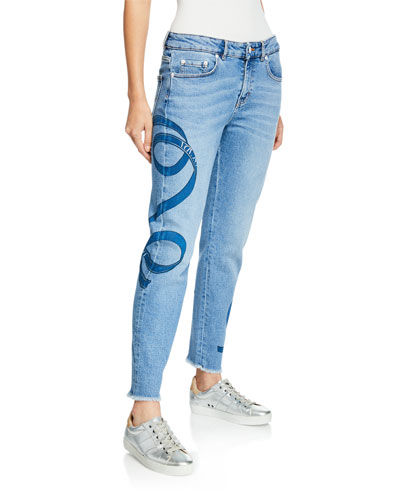 Ribbon-Print Washed Boyfriend Jeans