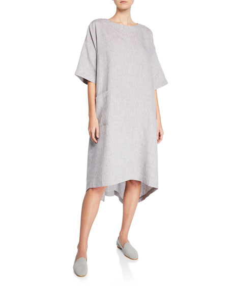 Eskandar Melange Linen High-Low T-Shirt Dress