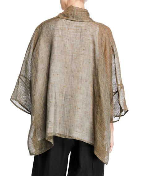 Eskandar Linen Melange Wide-Sleeve Jacket