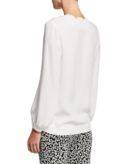 Escada Scalloped Silk V-Neck Tunic
