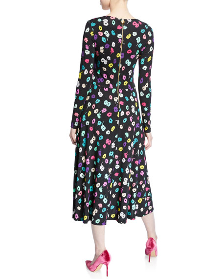 Escada Long-Sleeve Daisy Print Jersey Dress