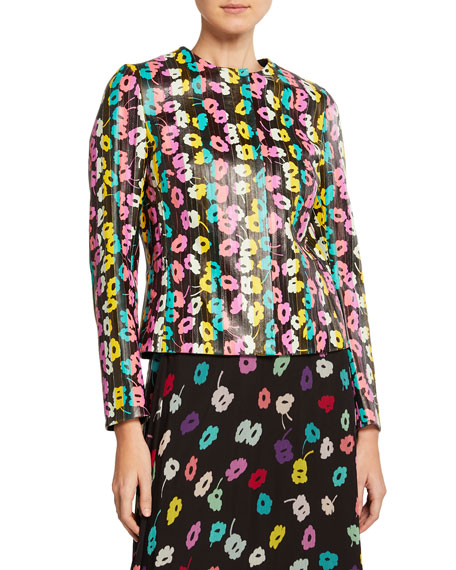 Escada Daisy-Print Leather Jacket