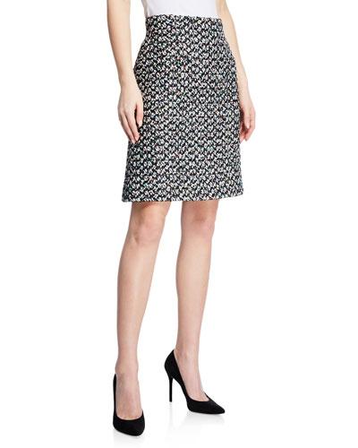 Multi-Tweed A-Line Mini Skirt
