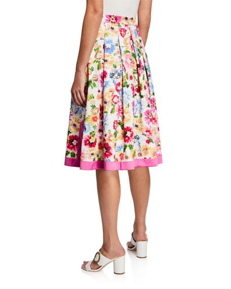 Escada Pleated Garden Floral-Print Skirt