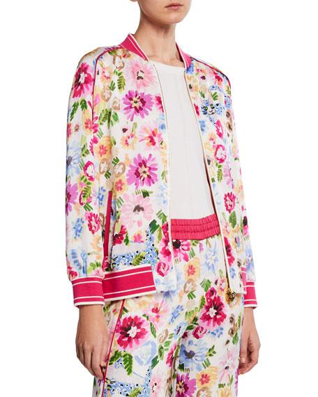 Escada Garden Floral-Print Zip Bomber Jacket
