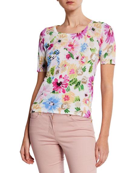 Escada Garden Floral-Print Short-Sleeve Shirt