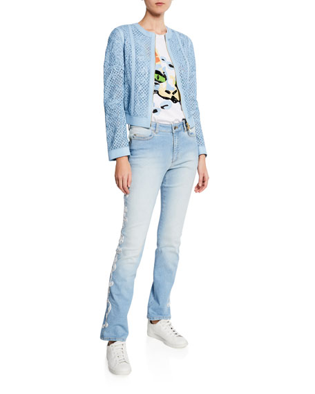 Escada Straight Leg Embroidered Side Jeans