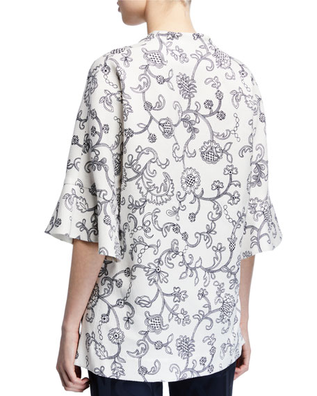 Image 2 of 2: Escada V Neck Floral Lace Print Tunic