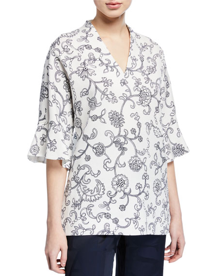Image 1 of 2: Escada V Neck Floral Lace Print Tunic