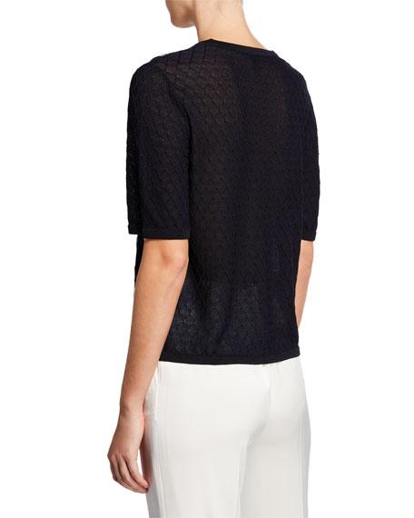 Escada Ribbon-Embroidered Short-Sleeve Pullover