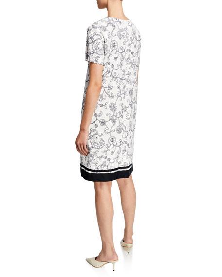 Escada Floral Lace Print Short-Sleeve Pique Dress