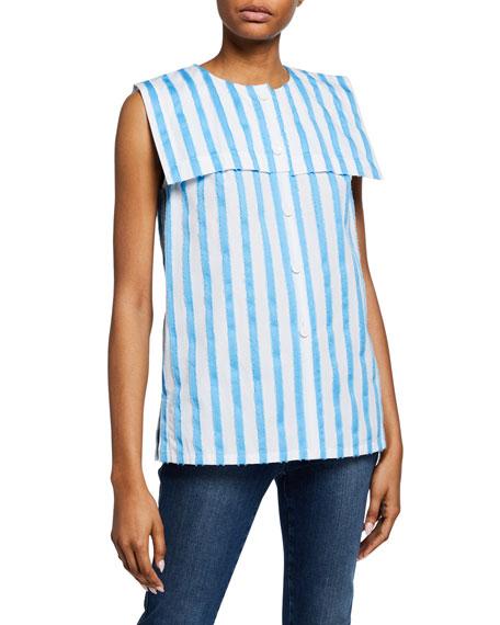 Escada Striped Sleeveless Raw-Edge Sailor Shirt