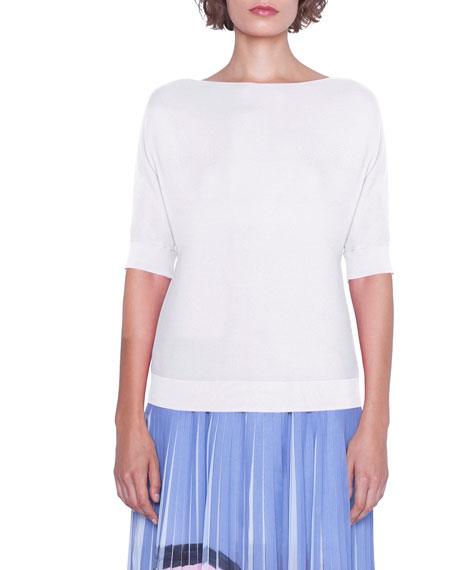 Akris 1/2-Sleeve Bateau Neck Sea-Island Cotton Top