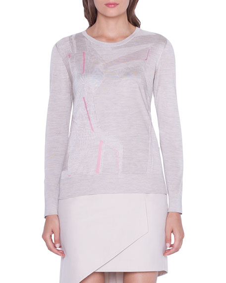 Akris Long-Sleeve Patchwork Tulle Sweater