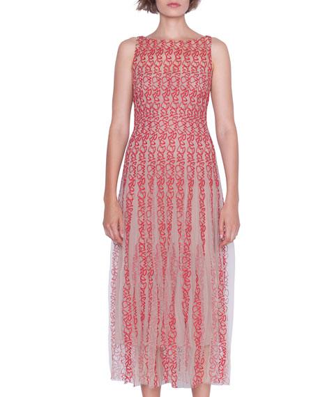 Image 3 of 4: Akris Sleeveless Crazy Line Embroidered Dress
