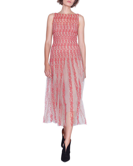 Image 1 of 4: Akris Sleeveless Crazy Line Embroidered Dress