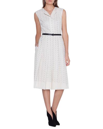 Cap-Sleeve Leporello Print Apron Dress