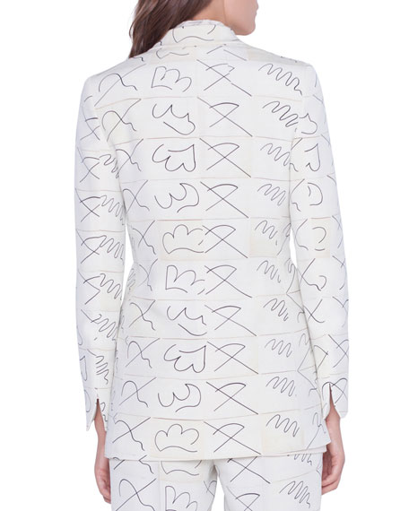 Akris Amarina Leporello Print Long Silk Jacket