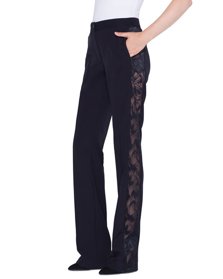 Akris Carl Marker SG Embroidered Straight Leg Pants
