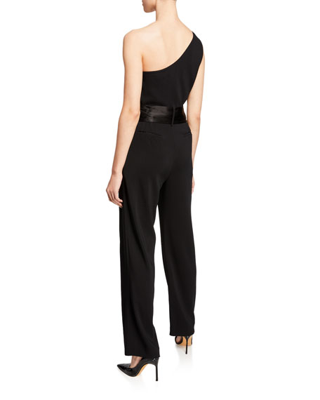 Carolina Ritzler Lauren One-Shoulder Bow-Waist Jumpsuit