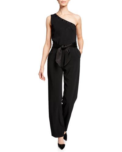 Lauren One-Shoulder Bow-Waist Jumpsuit