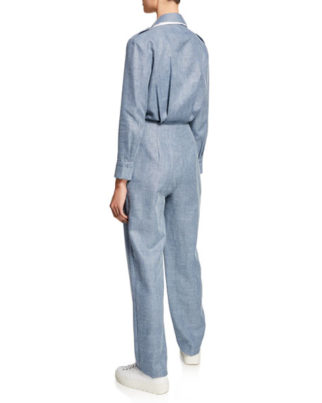 Image 2 of 2: Katia Double-Collar Linen/Wool Jumpsuit