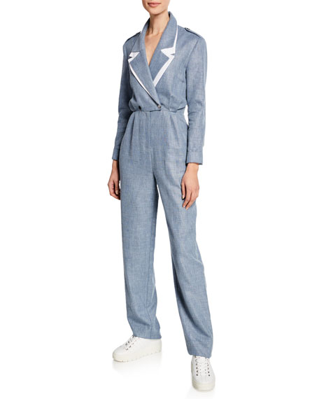 Image 1 of 2: Katia Double-Collar Linen/Wool Jumpsuit