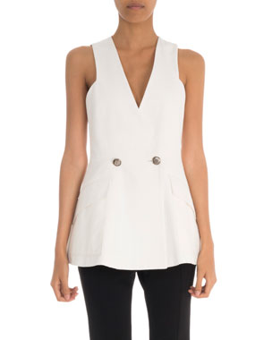 Givenchy Sleeveless V-Neck Logo-Button Peplum Top 91e6759aa3