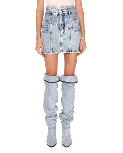 High-Rise Denim Mini Skirt
