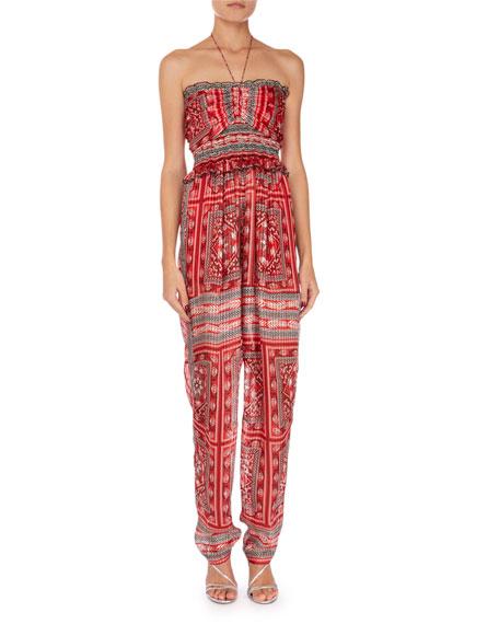 Isabel Marant Errol Summer Night Print Smocked Jumpsuit