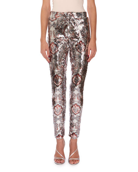 Isabel Marant Odizo Allover-Print Sequin Pants