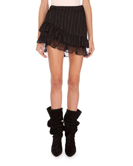 Isabel Marant Malou Metallic Tiered Mini Skirt