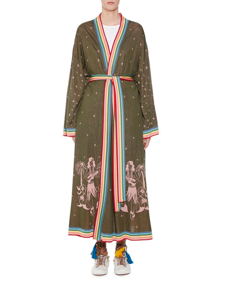Alanui Long Hawaiian Map Silk Kimono Cardigan
