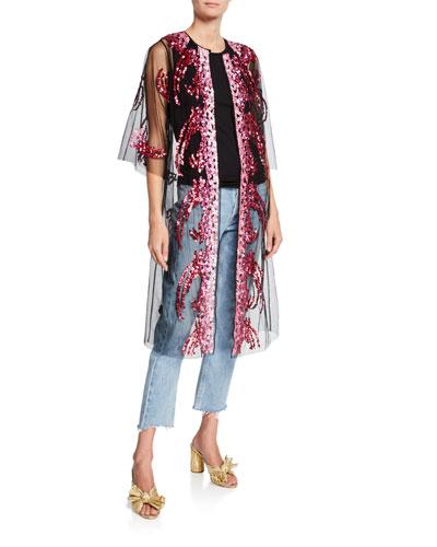 Sequin Tulle Robe Coat  Pink