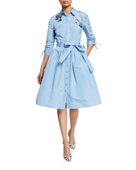 Carolina Herrera Floral-Embroidered Ruched-Sleeve Belted Shirtdress