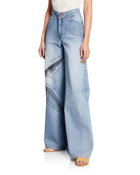 Johanna Ortiz Pale Blue Spirit High-Rise Wide Leg Feather Print Jeans