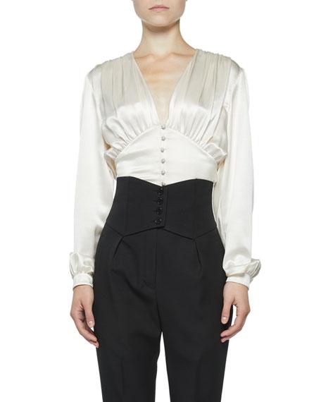 Saint Laurent Silk-Satin V-Neck Button-Front Blouse