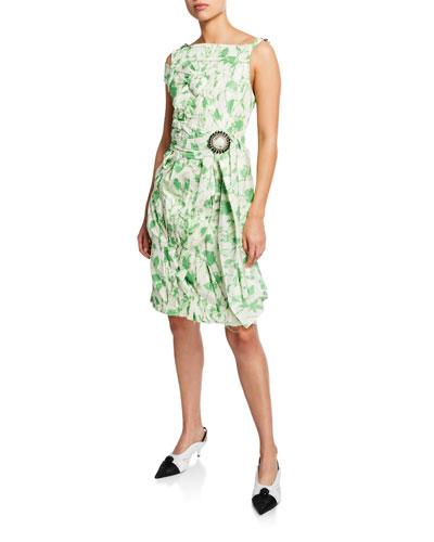 Sleeveless Crushed Floral Taffeta Dress