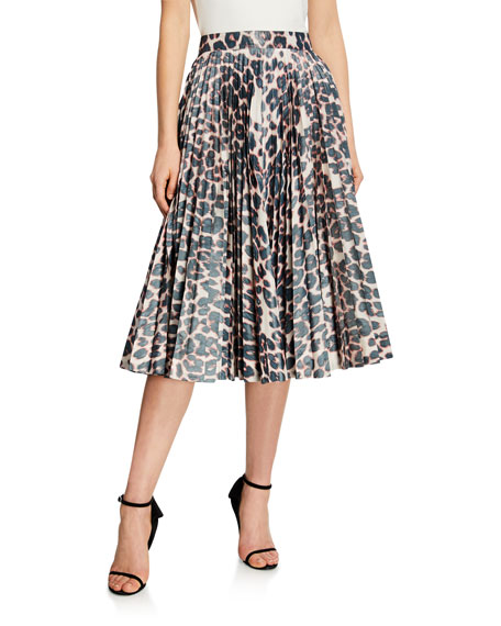Calvin Klein 205w39nyc ANIMAL PRINT PLEATED CIRCLE SKIRT