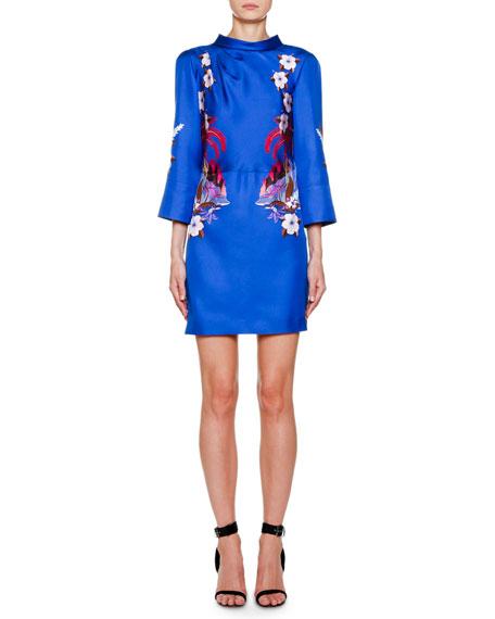 Etro Palm-Tree Print Silk Mini Dress